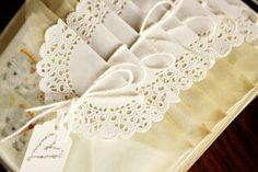 pretty lace doily envelopes