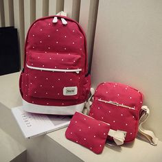 3PCS Canvas Backpack Set Casual Large Capacity School Bag