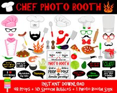 PRINTABLE Chef Photo Booth Props-Chef Photo Booth Sign-Cooking,Kitchen,Catering,Gastro,Pizza Party Photo Props-Chef Props-Instant Download PRINTABLE set of 49 pieces: 38 props, 10 speech bubbles, 1 photo booth sign.