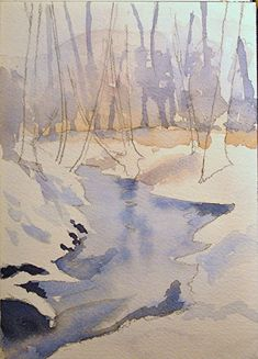 Watercolor Tutorial: Painting a Winter Stream Watercolor Landscape Tutorial, Watercolor Tips, Watercolour Tutorials, Watercolor Techniques, Watercolor Paper, Watercolor Pencils, Watercolor Art Paintings, Encaustic Painting, Watercolours