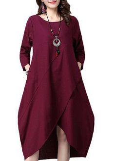 Three Quarter Sleeve Asymmetric Hem Midi Dress