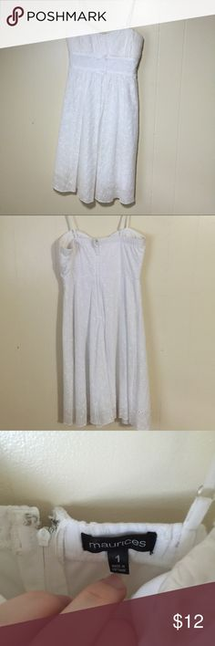 Super sweet, white, spaghetti straps dress! This is a white, size one spaghetti strap dress! Has been worn. Has a zip up back. Maurices Dresses