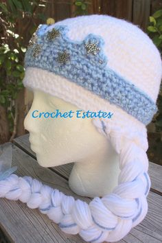 girls hat with crown and braids | Princess Elsa Wig/Hat with Long Braid, Crown and Snowflake ...