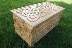 Celtic Trunk, thick patterns on all viewing sides can let it stand out in the open. via Etsy