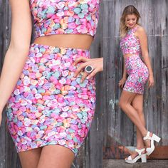 Candy Hearts Pencil Skirt - 48HR (WW ONLY $60AUD) by Black Milk Clothing