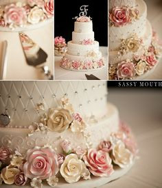 Pink and gold rose classic wedding cake