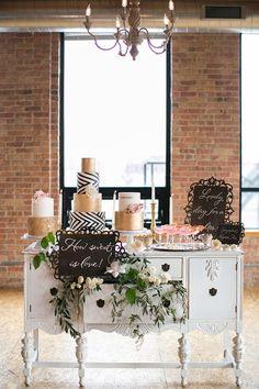 Chic Modern dessert table   Christy Tyler Photography on @glamourandgrace