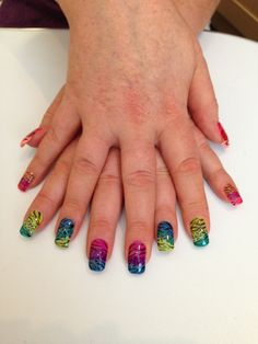 Gel polish nails. Hand painted. Rhinestones Gel Nails x