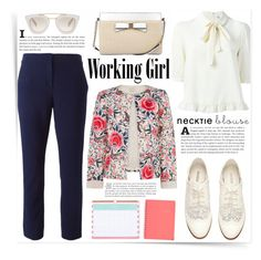 """Working Girl"" by katrinaalice ❤ liked on Polyvore featuring See by Chloé, Diane Von Furstenberg, Oasis, H&M, Kate Spade, Prada, Sugar Paper and Day Designer"