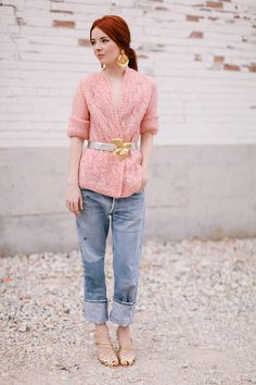 rose quartz top with serenity jeans and gold belt