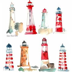 I'm pleased to announce that these lighthouses (combination of two sketch a days several months apart) will be featuring on notecards for Phoenix Trading – available now. I'll share samples once they arrive Watercolor Cards, Watercolour Painting, Painting & Drawing, Watercolors, Watercolor Architecture, Watercolor Landscape, Arte Latina, Lighthouse Painting, Lighthouse Pictures