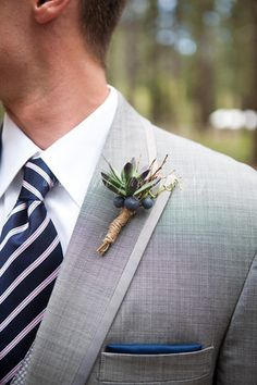 Succulent/Blueberry Bouts! :  wedding blueberry boutonniere navy blue pink succulent