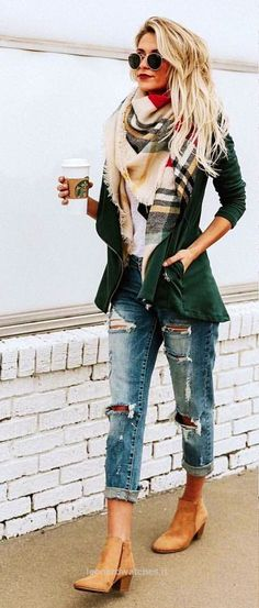 #winter #outfits green zip-up jacket with Burberry scarf