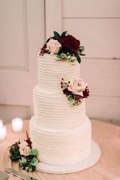 Three tier textured rose topped wedding cake: http://www.stylemepretty.com/2016/11/24/fall-kennebunkport-wedding/ Photography: Emily Delamater - http://emilydelamater.com/