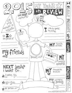 2015 Year In Review Free Printable Coloring Sheet. Start a new tradition this year with a look back of your past year.