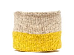 €30.00 · Alizeti Yellow Colour Block Basket Embrace the colour blocking trend with our bright sunflower yellow and natural coloured baskets, hand woven in South Western Kenya. These storage baskets are… Sisal, Basket Weaving, Hand Weaving, Woven Baskets, Dressing Table Organisation, Desk Tidy, Colourful Living Room, Color Blocking, Colour Block