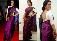 Regina Purple Color Silk #Saree in purple with white open back Blouse