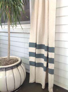 diy curtains paint drop cloth teal stripe