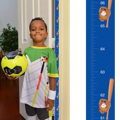 Patent Pending Mom Approved Baseball PeekaBoo Growth Charts Track & Measure your Kid's Height. Fits in Standard Door Jamb, Removable & Reusable, Self-Adhesive [72 x 1.25 Inches] available on Etsy, Amazon, Ebay and www.momapproved.net