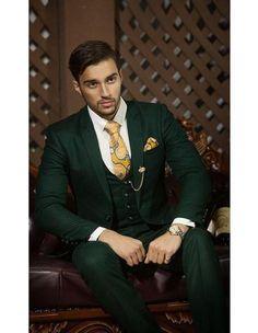 Men's Notch Lapel Single Breasted Tuxedo Dark Green Cuff Link Suit - Fashion tips - Green Wedding Suit, Wedding Suits, Wedding Tuxedos, Wedding Dress, Mens Fashion Suits, Mens Suits, Suit For Men, Womens Fashion, Costume Vert