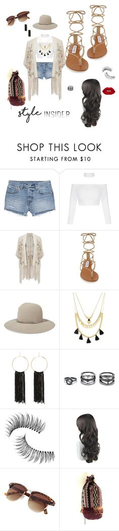 """Untitled #7"" by xcelestex ❤ liked on Polyvore featuring Levi's, Miss Selfridge, Steve Madden, Janessa Leone, Forever 21, Bebe, LULUS, Trish McEvoy, contestentry and laceupsandals"