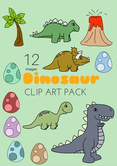 Downloadable Free Dinosaur Clipart Pack 12 Images Today I'm sharing the clipart set I made for the dinosaur theme. These can be used for scrap-booking to go with the digital papers I shared e…