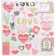 American Crafts - Crate Paper - Heart Day - Adhesive Chipboard 12inX12in with Gold Glitter. Valentine's Day.