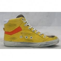 Golden Goose Gelb Distressed 2.12 Leather Suede high Heel Top Herren Sneakers