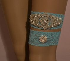 Wedding/Bridal Garter Set Elegant Blue Pearl and Rhinestone Wedding Garter Set by Special Touch Bridal  $26.99
