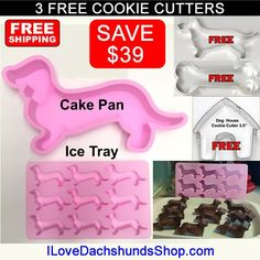 Dachshund Cake Pan   Ice Cube Tray Set   3 FREE Cookie Cutters