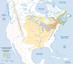 French Colonial Expansion and Franco-Amerindian Alliances Canadian History, American History, Mountain Man, Quebec, Grands Lacs, Early Explorers, North America Map, French Colonial, Virtual Museum