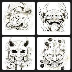Hannya Mask Style Tattoo Design Black Grey 50 Page Variety Flash ...