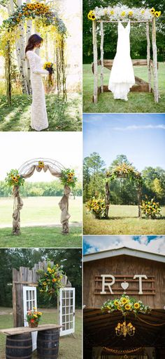 Rustic and Vintage Wedding Arches Ideas Inspired by Sunflowers