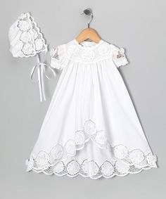 Ma Petite Amie White Baptism Dress & Bonnet - Infant by Print Makers: Kids' Apparel White Baptism Dress, Baptism Outfit, Baptism Gown, Baptism Clothes, White Baby Dress, Girls Baptism Dress, Baby Girl Baptism, Christening Gowns, Little Girl Dresses