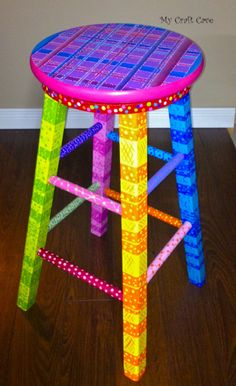 Turn a Plain Stool Into a Swivel Stool: this is a very easy way to turn a boring old wooden stool into an exciting and fun work of art. i painted this one using painters tape and outdoor patio paint. Whimsical Painted Furniture, Hand Painted Furniture, Funky Furniture, Colorful Furniture, Paint Furniture, Furniture Projects, Furniture Makeover, Furniture Design, Plywood Furniture