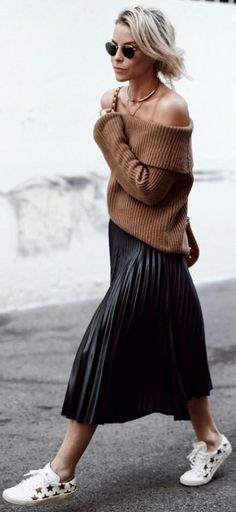 #fall #trending #outfits | Camel Knit + Black Pleats