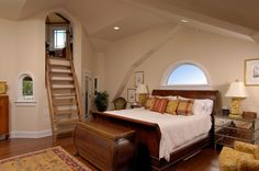 "Elegant Master Bedroom With Access To Eagles Nest.  Can you say, ""Ooh-lah-lah-ladder?"""