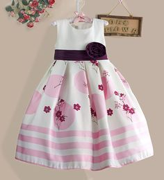 Top quality White Flower Girls Party Dress Pink Striped Big Bow Kids Dresses Princess Girl Clothes Size 3-8Y