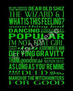 Wicked the Musical Songs Track List Score - Broadway Show Play Quote Wall Art in Green Wicked Musical, Musical Theatre Broadway, Wicked Witch, Broadway Shows, Broadway Party, Play Quotes, Wall Art Quotes, Quote Wall, Theatre Geek