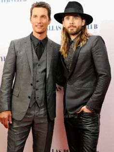 """We never get tired of seeing these hotties on the red carpet! Matthew McConaughey and Jared Leto attend the """"Dallas Buyers Club"""" UK premiere looking fab in grey and black suits."""