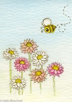 Whimsical painting  Bumble Bee Dayz  ACEO print-Jodie Blanchard