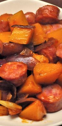 Skillet dinner - Sausage, Shallots, Butternut Squash - throw it in a pan, have a glass of wine and relax.