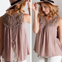✨listing for Savienne  1 item order for Savienne:  ▪️Floral crochet light mocha lace up blouse (L)  Thank you for shopping my closet!  Tops Blouses
