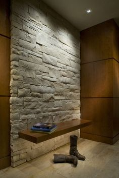 Floating entry bench on white stone wall with. Via 186 Lighting Design Group. Via Houzz. Wall Bench, Entry Bench, Entryway Wall, Entry Hall, Bench Seat, Front Entry, Brick Interior, Flat Interior, Interior Ideas