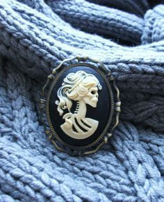 Undead Zombie Princess Cameo Brooch Pin by GoddessOfJewelry, $16.00
