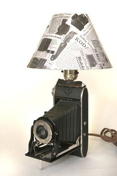 Upcycled vintage camera lamp
