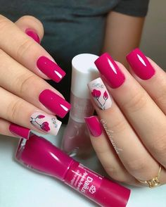 14 - The half-moon manicure is a nail art design that features two contrasting shades of polish, one Trendy Nail Art, Stylish Nails, Gorgeous Nails, Pretty Nails, Nail Designer, Holographic Nails, Flower Nails, Cool Nail Designs, Holiday Nails