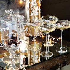 Dessert Tray. I love the look of the chocolates in an apothecary jar instead of left in boxes.