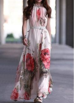Charming Mandarin Collar Sleeveless Printed Dress for Lady  on sale only US$11.92 now, buy cheap Charming Mandarin Collar Sleeveless Printed Dress for Lady  at martofchina.com