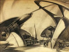 Davelandblog: Disneyland For Sale! -- Early concept for Tomorrowland by Bruce Bushman